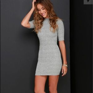 TO THE MOON AND BACK HEATHER GREY SWEATER DRESS
